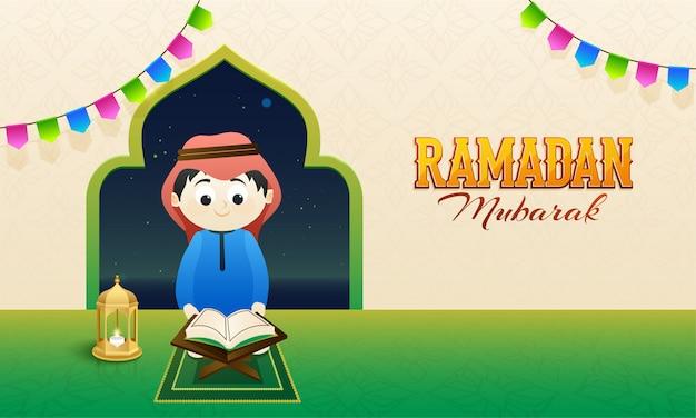Concept du ramadan moubarak avec un jeune enfant islamique lisant une île sainte