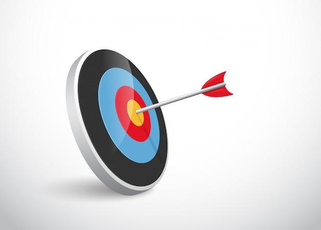 Le concept du succès de la flèche s'incline devant la cible.