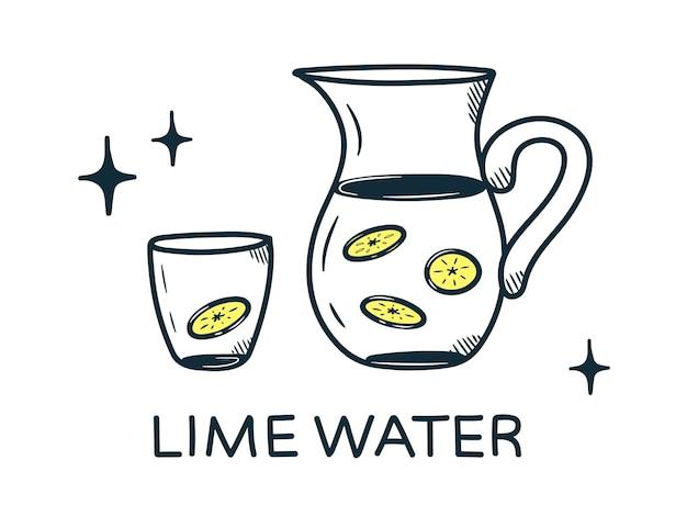 Concept d'eau au citron. dessinés à la main dans un style doodle.
