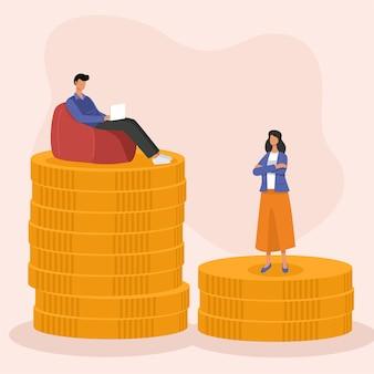 Concept d'écart salarial égal, homme d'affaires et femme debout sur la pile de pièces.