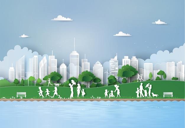 Concept d'eco avec bâtiment et nature,