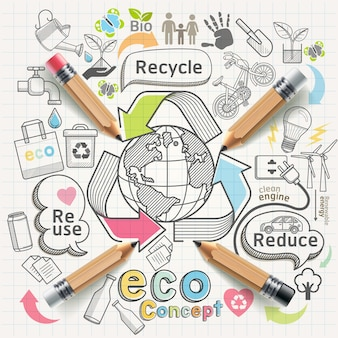 Concept eco pensée doodles icônes définies.