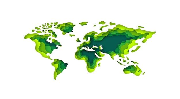 Concept éco vert de carte du monde de style de papier découpé
