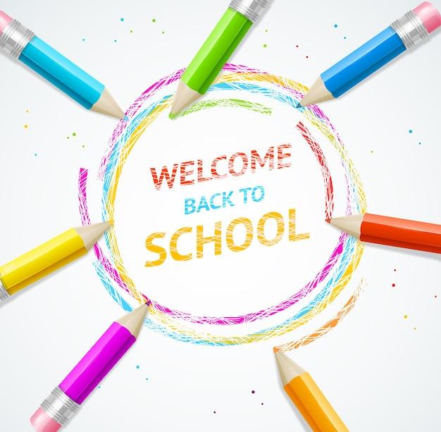 Concept d'école. retour aux textes de titre de l'école dans un cercle avec des crayons.