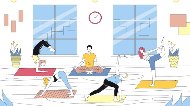 Concept d'école de yoga, de soins de santé et de sport actif. groupe de personnes font du yoga dans la salle de gym. les personnages prennent des cours de yoga et mènent un mode de vie sain. illustration vectorielle plane dessin animé contour linéaire.