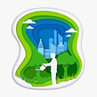 Concept d'écologie dans le style du papier avec l'homme arrosant les plantes