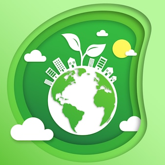Concept d'écologie dans le style du papier