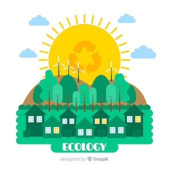 Concept d'écologie design plat avec des éléments naturels
