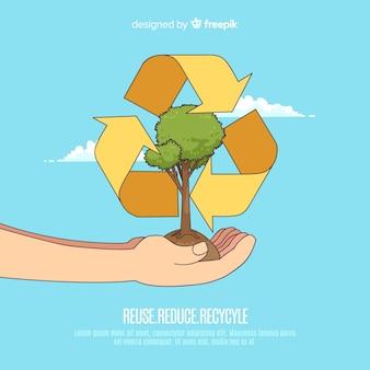 Concept d'écologie dessiné avec des éléments naturels