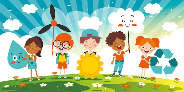 Concept d'écologie et de durabilité avec les enfants de la bande dessinée