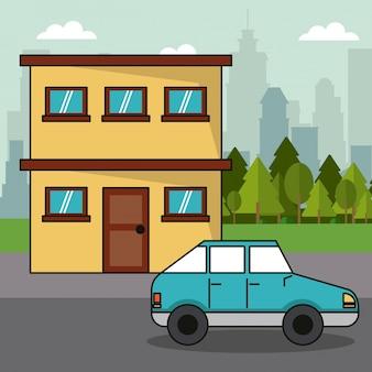 Concept d'écologie familiale de transport de voiture maison