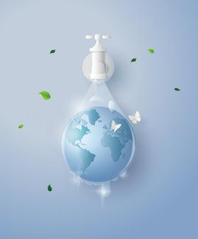 Concept de l'écologie et de la journée mondiale de l'eau. art du papier et style d'artisanat numérique.