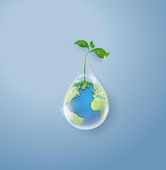 Concept d'écologie et journée mondiale de l'eau. art du papier et style d'artisanat numérique.