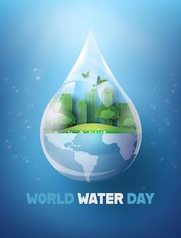 Concept d'écologie et journée mondiale de l'eau.