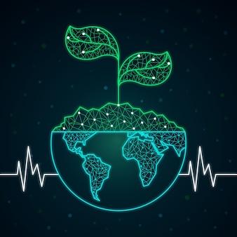 Concept d'écologie technologique avec planète