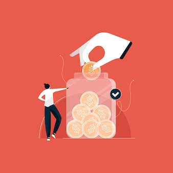 Concept d'économie d'argent, économiser la pièce d'un dollar en pot d'argent, investissements pour une illustration future