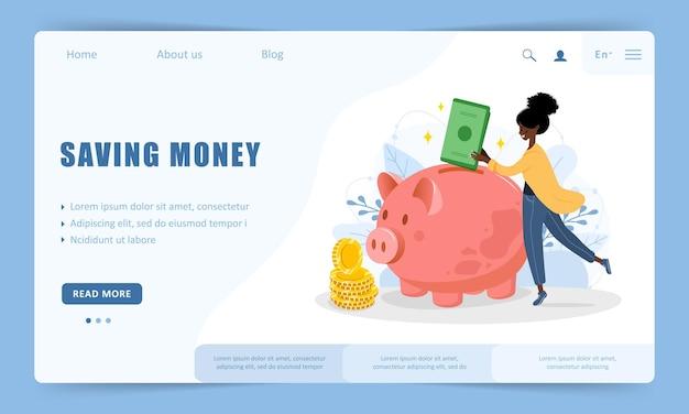 Concept d'économie d'argent. modèle de page de destination.