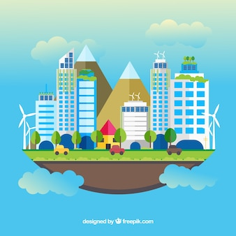 Concept d'écosystème avec nuages et ville