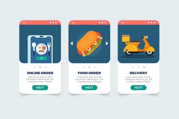 Concept d'écrans de livraison de nourriture à bord