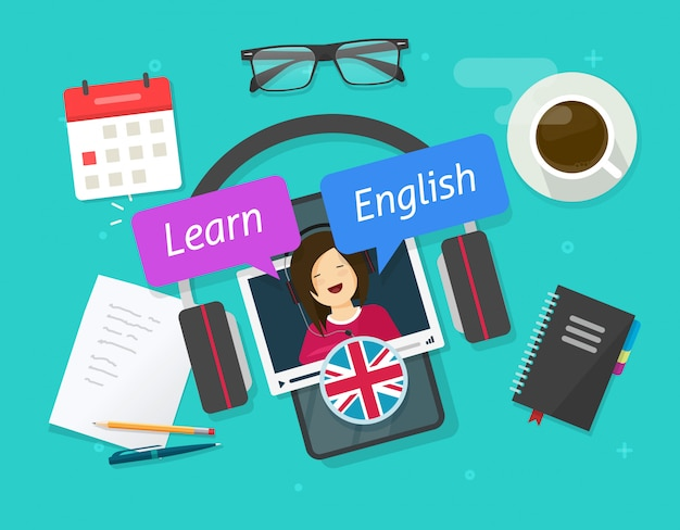 Concept d'éducation d'apprendre l'anglais en ligne sur un téléphone cellulaire ou d'étudier une langue étrangère sur une leçon de smartphone mobile sur une illustration de dessin animé plat de table de bureau