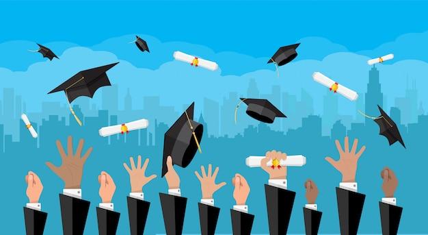 Concept d'éducation. collège, cérémonie universitaire