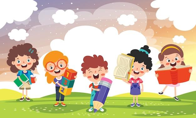 Concept d'éducation enfant drôle d'école