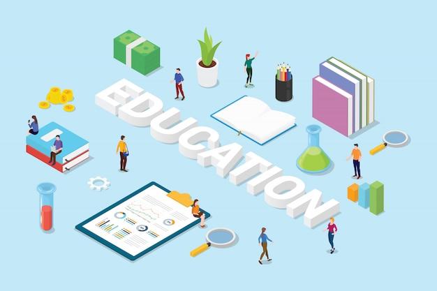 Concept de l'éducation avec gros mots texte et livres de gens de l'équipe et icône de signe d'objet science