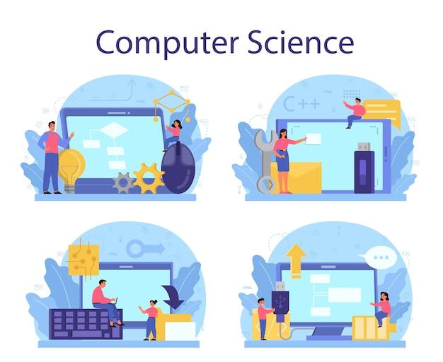 Concept d'éducation informatique au design plat