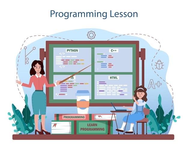 Concept d'éducation informatique. les étudiants apprennent la programmation, écrivent des logiciels
