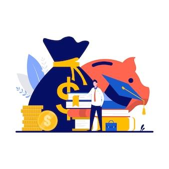Concept d'éducation et d'investissement avec petit personnage, argent, livre, chapeau et pièces de monnaie. homme d'affaires apprenant le succès et le cours de finance. prêts étudiants, bourses, économies pour la métaphore de l'étude.