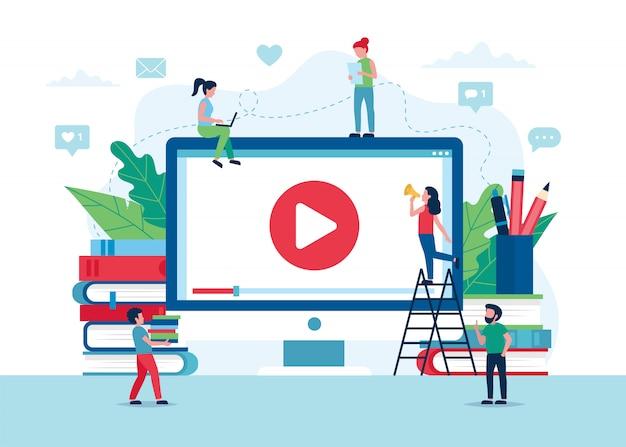 Concept d'éducation en ligne, écran avec vidéo, livres et crayons.