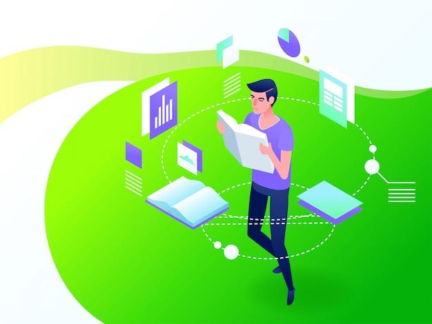 Concept d'éducation en ligne. illustration vectorielle isométrique