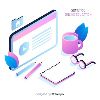 Concept d'éducation en ligne isométrique
