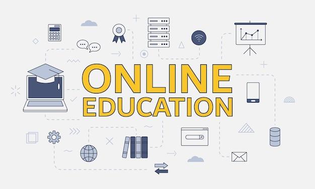 Concept d'éducation en ligne avec jeu d'icônes avec grand mot ou texte sur l'illustration vectorielle centrale