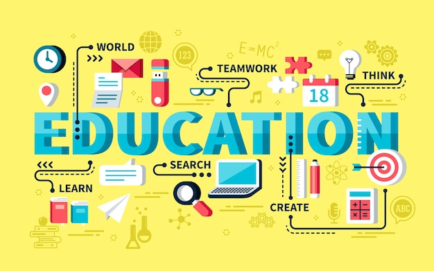 Concept d'éducation, mots d'éducation avec élément de papeterie