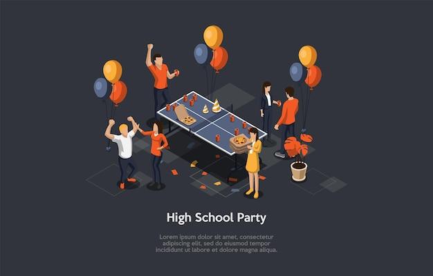 Concept d'éducation et d'obtention du diplôme high school party avec pizza
