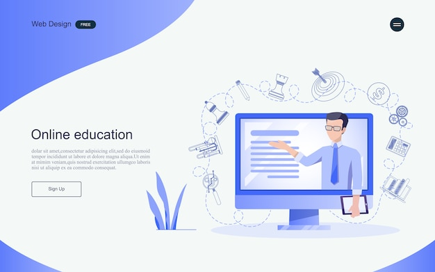 Concept d'éducation pour l'apprentissage, la formation et les cours en ligne. modèle de page de destination.