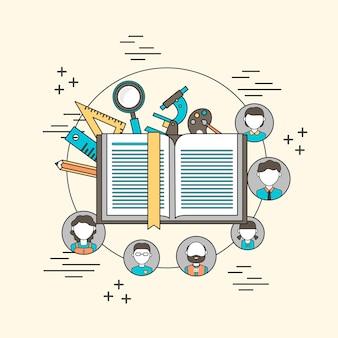 Concept d'éducation pour tous dans le style de ligne