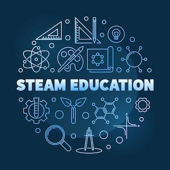 Concept de l'éducation à la vapeur bleu icône ronde linéaire illustration