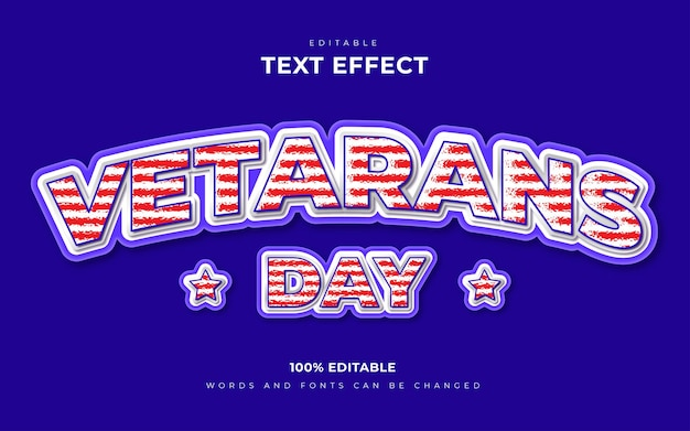 Concept d'effets de texte modifiables en 3d de la journée des anciens combattants