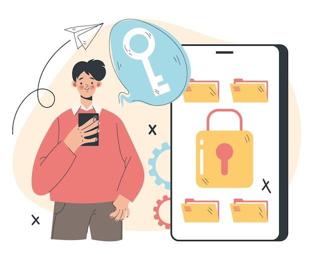 Concept d'élément de conception d'illustration abstraite de protection de transfert de données