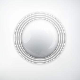 Concept d'élément de conception web avec bouton rond réaliste argent métal brillant sur lumière isolée