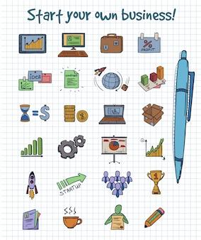 Concept d'éléments de démarrage d'entreprise doodle coloré