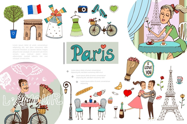 Concept d'éléments dessinés à la main de paris