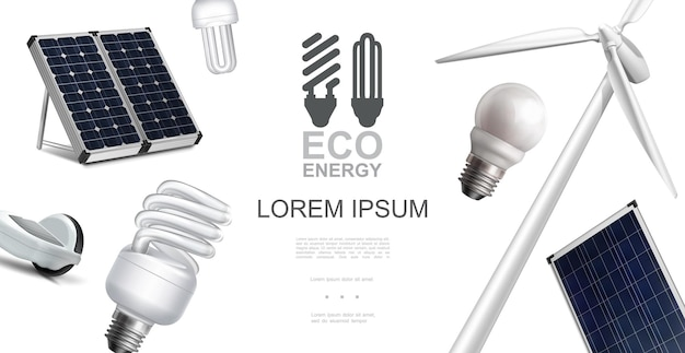 Concept d'éléments d'énergie éco réaliste avec panneaux solaires de moulin à vent et illustration d'ampoules électriques à économie d'énergie