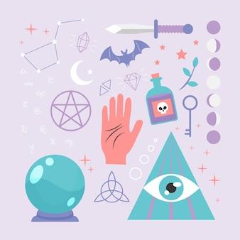 Concept d'éléments ésotériques avec main