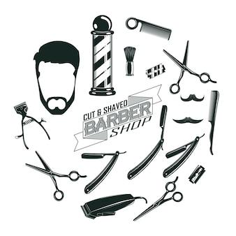 Concept d'éléments de salon de coiffure vintage monochrome