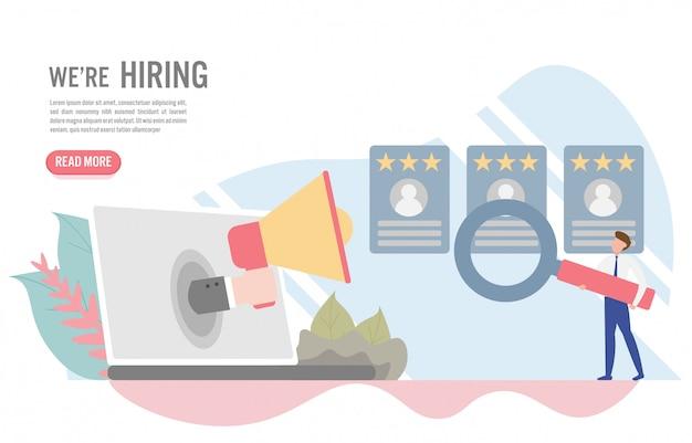 Concept d'embauche et de recrutement avec caractère