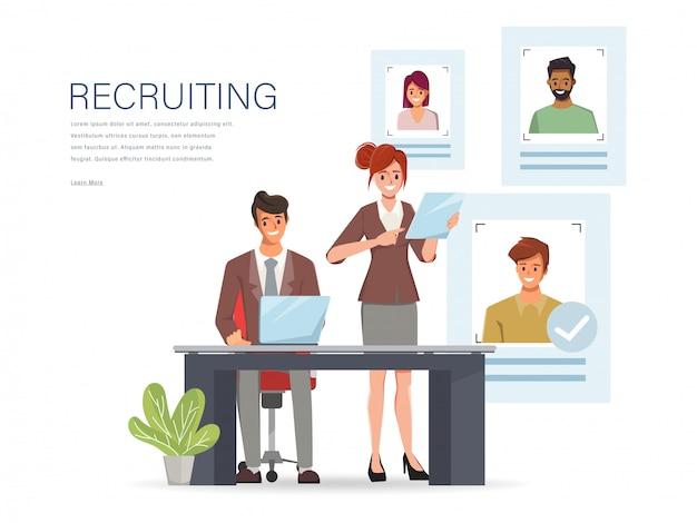 Concept d'embauche et de recrutement en ligne avec caractère de gens d'affaires.