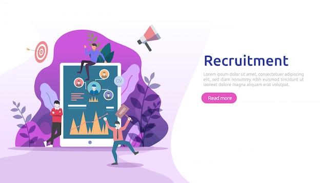 Concept d'embauche et de recrutement en ligne avec caractère de minuscules personnes. entretien d'agence. sélectionnez un processus de reprise. modèle de page de destination web